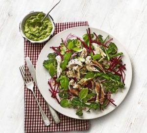 chicken-broccoli-beetroot-salad-with-avocado-pesto