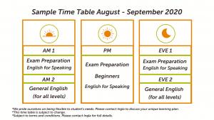 Ingla Time Table August September 2020