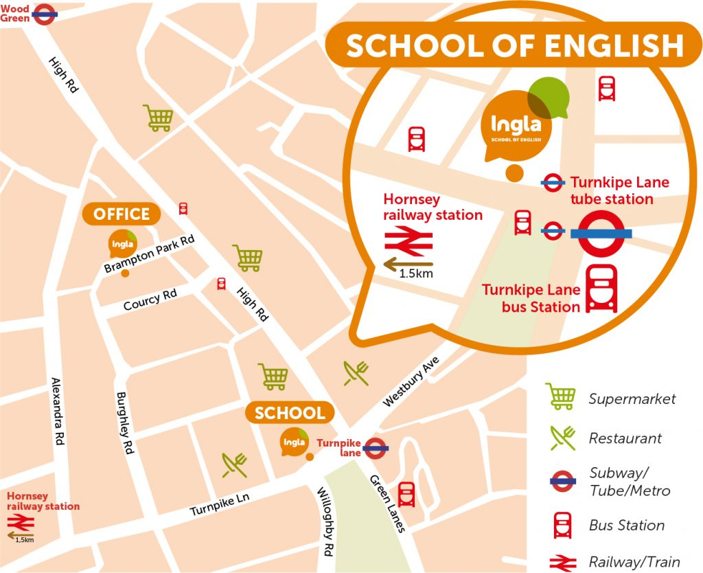 Ingla school and office map