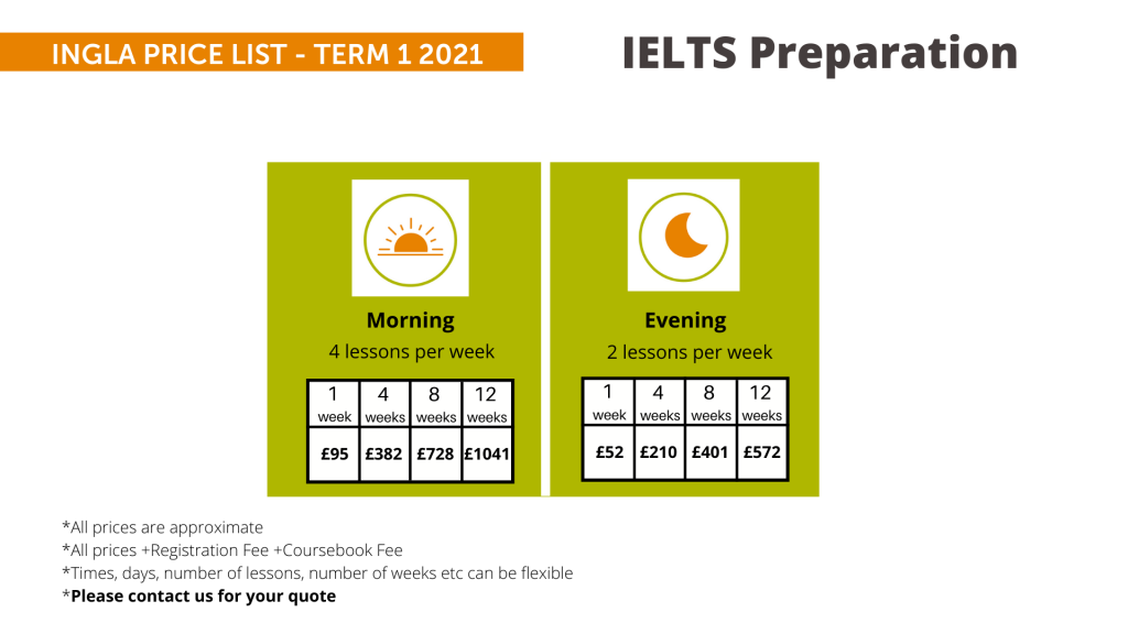 Ingla Price List - term 1 2021 IELTS Prep
