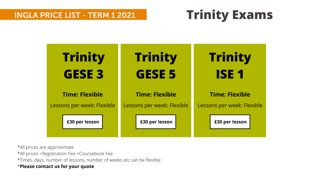 Ingla Price List - term 1 2021 Trinity