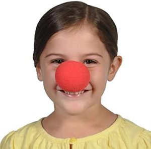 red clown nose on child