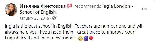 Ingla School of English Facebook reviews 2