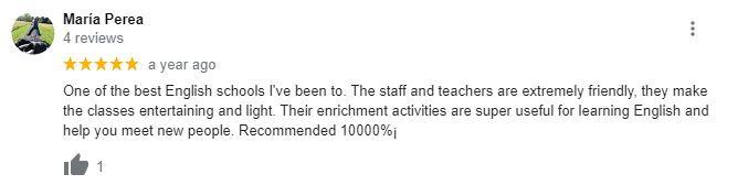 Ingla School of English Google reviews 7